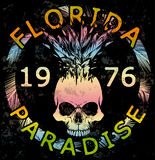 Diseño gráfico de la Florida de la colección de verano de la camiseta del cráneo ilustración del vector