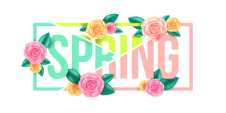Diseño gráfico de la primavera floral Letra de la primavera con las flores Imagenes de archivo