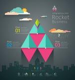 Diseño gráfico de los cohetes del triángulo del negocio de la información Imagen de archivo libre de regalías