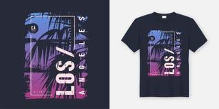 Diseño gráfico del vector de la camiseta de Los Ángeles California con la palmera libre illustration