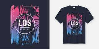 Diseño gráfico del vector de la camiseta de Los Ángeles California con la palmera ilustración del vector
