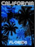 Diseño gráfico la Florida California de la camiseta del verano Imagen de archivo libre de regalías