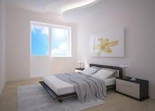 Diseño gris del dormitorio Foto de archivo libre de regalías