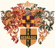 Diseño heráldico con el escudo de armas, el escudo y los caballos en vintage Fotografía de archivo libre de regalías