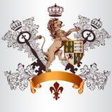 Diseño heráldico con el escudo de armas, el león y el escudo en el st del vintage Fotos de archivo libres de regalías