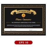 Diseño hermoso de la plantilla del negro y del certificado del oro Ilustración del Vector