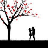 Diseño hermoso de los pares de la tarjeta de la tarjeta del día de San Valentín stock de ilustración