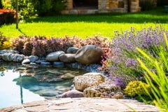 Diseño hermoso del paisaje del patio trasero Vista de árboles coloridos y de rocas arregladas decorativas de los arbustos imagen de archivo libre de regalías