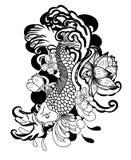 Diseño hermoso del tatuaje de la carpa de Koi del arte del garabato Foto de archivo