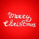 Diseño hermoso del texto de Feliz Navidad en fondo del color rojo Ilustración del vector Fotografía de archivo libre de regalías