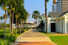 Dise?o hermoso en un centro tur?stico tropical - calzada anaranjada, palmeras verdes del coco, callej?n del paisaje en Tailandia, foto de archivo