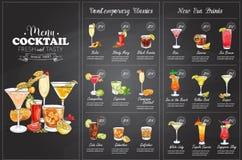 Diseño horisontal del menú del cóctel de Front Drawing Imágenes de archivo libres de regalías