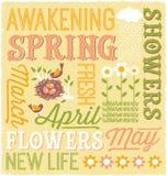 Diseño ilustrado del collage de la palabra de la primavera Foto de archivo