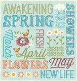 Diseño ilustrado del collage de la palabra de la primavera