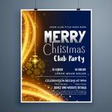 Diseño impresionante de la plantilla del cartel de la fiesta de Navidad con nieve de la ejecución libre illustration