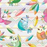 Diseño inconsútil de la materia textil del modelo del vector étnico lindo de los caracteres de los pájaros stock de ilustración