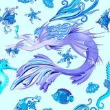 Diseño inconsútil de la materia textil del vector del modelo de la criatura de hadas púrpura de la sirena stock de ilustración