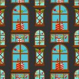 Diseño inconsútil de la tarjeta de felicitación de las vacaciones de invierno de la casa de la ventana de la decoración del Año N Imagen de archivo