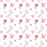 Diseño inconsútil de las mariposas, de las flores y de las frutas del modelo de la acuarela en el fondo blanco stock de ilustración