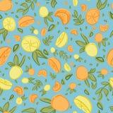 Diseño inconsútil del modelo de la repetición de la hoja anaranjada del limón ilustración del vector