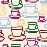 Diseño inconsútil del modelo de las tazas de té del vector ilustración del vector