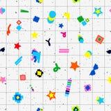 Diseño inconsútil del modelo 80s de los objetos geométricos Foto de archivo libre de regalías
