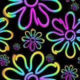 Diseño inconsútil del modelo del vector de la luz de Daisy Spring Flower Psycnedelic Neon libre illustration