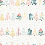Diseño inconsútil del vector del árbol de navidad moderno Árboles de navidad exhaustos de la mano en fila y estrellas en un fondo ilustración del vector