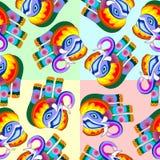 Diseño inconsútil del vector del modelo del estilo Naif multicolor del remiendo del elefante ilustración del vector
