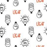 Diseño inconsútil dibujado mano del modelo de la bombilla de la lámpara Icono de las bombillas Foto de archivo libre de regalías