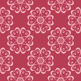 Diseño inconsútil floral en fondo rojo Foto de archivo libre de regalías