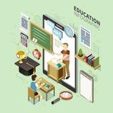 Diseño infographic de la educación en línea Foto de archivo