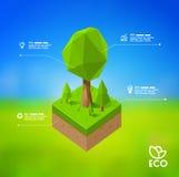 Diseño infographic moderno con lowpoly el árbol EPS 10 stock de ilustración