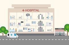 Diseño infographic y plano del hospital