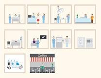 Diseño infographic y plano del hospital libre illustration
