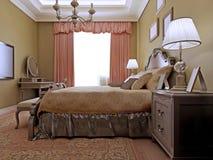 Diseño inglés clásico del dormitorio Imagen de archivo libre de regalías