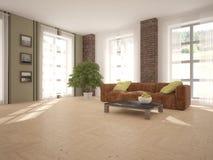 Diseño interior blanco de sala de estar Imagen de archivo libre de regalías