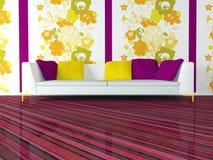 Diseño interior brillante de sala de estar rosada moderna Imagenes de archivo
