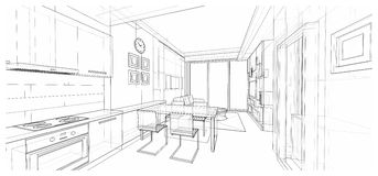 Diseño interior: cena Fotos de archivo libres de regalías