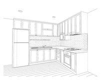Diseño interior, cocina ilustración del vector