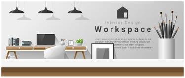 Diseño interior con la sobremesa y el fondo moderno del lugar de trabajo de la oficina ilustración del vector