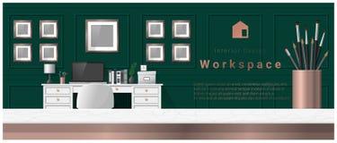 Diseño interior con la sobremesa y el fondo moderno del lugar de trabajo de la oficina libre illustration