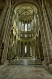 Diseño interior de abadía en el día, Francia de Mont Saint-Michel Imagen de archivo libre de regalías