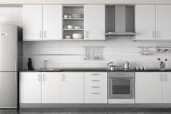 Diseño interior de cocina blanca moderna Fotografía de archivo libre de regalías