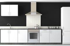 Diseño interior de cocina negra moderna Foto de archivo