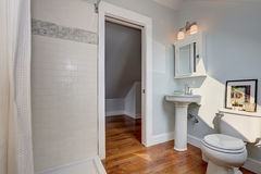 Diseño interior de cuarto de baño del artesano con las paredes azules en colores pastel Fotos de archivo libres de regalías