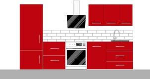 Diseño interior de la cocina moderna con muebles almacen de video