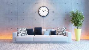 Diseño interior de la sala de estar con la pared inferior del cemento ligero Fotografía de archivo libre de regalías