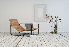 Diseño interior de la sala de estar minimalista Imágenes de archivo libres de regalías