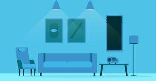 Diseño interior de la sala de estar plana del estilo Imagenes de archivo